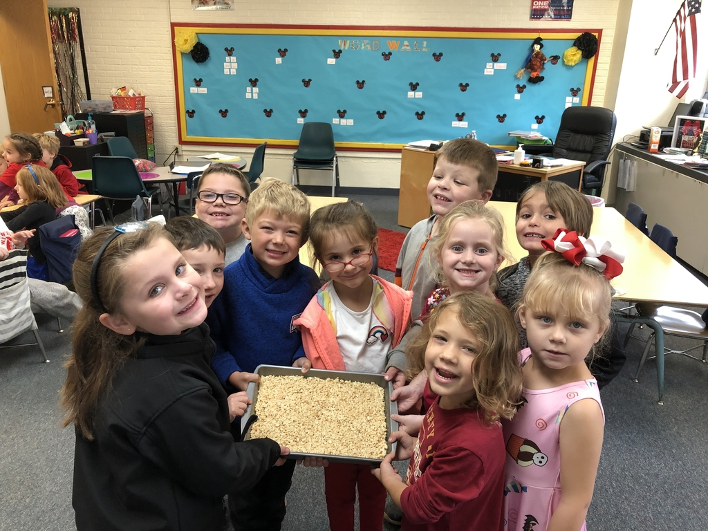 Kindergarten made Rice Krispie treats today.