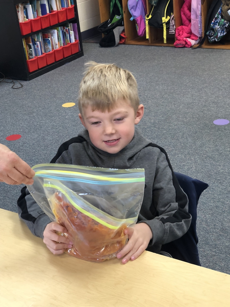 Kindergarten made pumpkin pie in a bag.