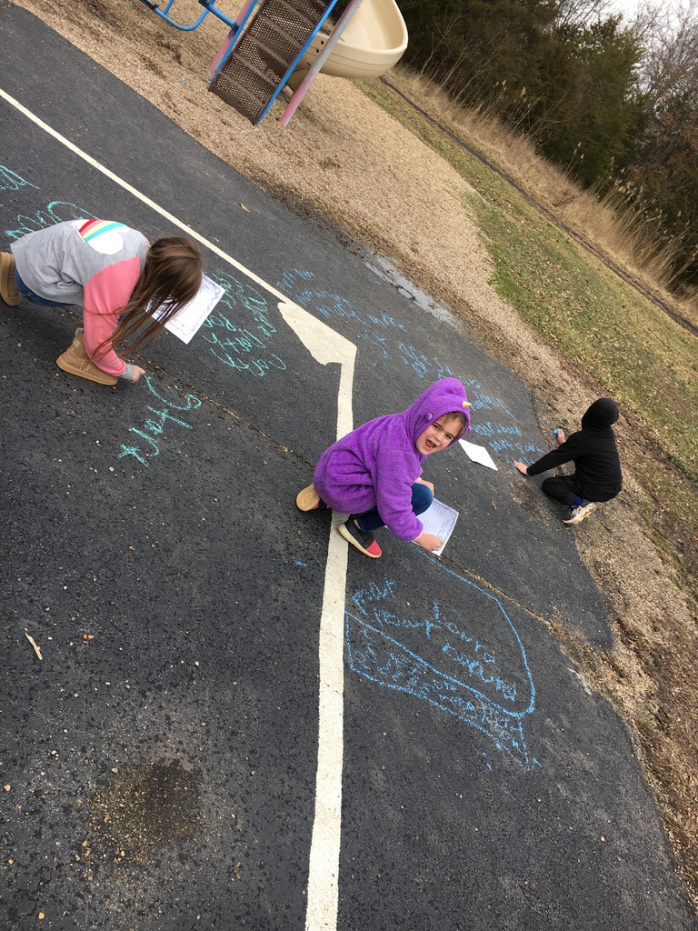 2nd grade took advantage of the nice weather on Monday and practiced their spelling words with chalk!