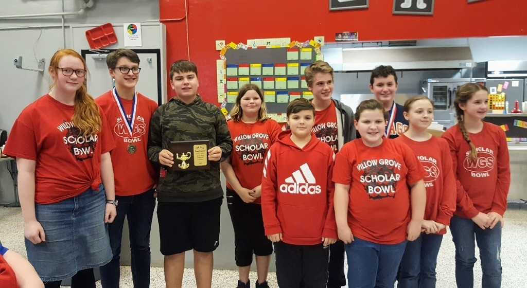 Congratulations to our Willow Grove Scholar Bowl team. They placed 3rd in the Oil Belt Conference tonight in Odin!  Gabe Peeck received 1st place and Joey Hutton received 2nd place for most toss ups answered.
